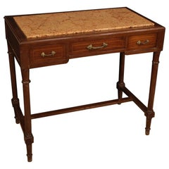 20th Century Mahogany and Maple with Marble Top Italian Table, 1920