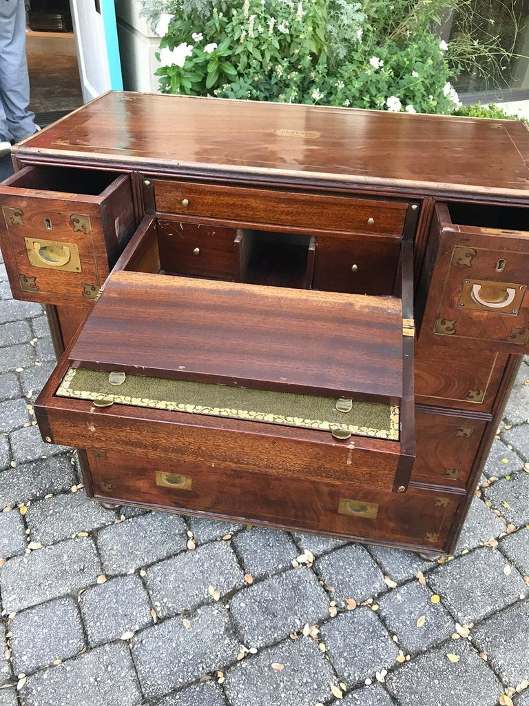 20th Century Mahogany Campaign Style Secretary Chest with Brass Inlay and Mounts For Sale 7