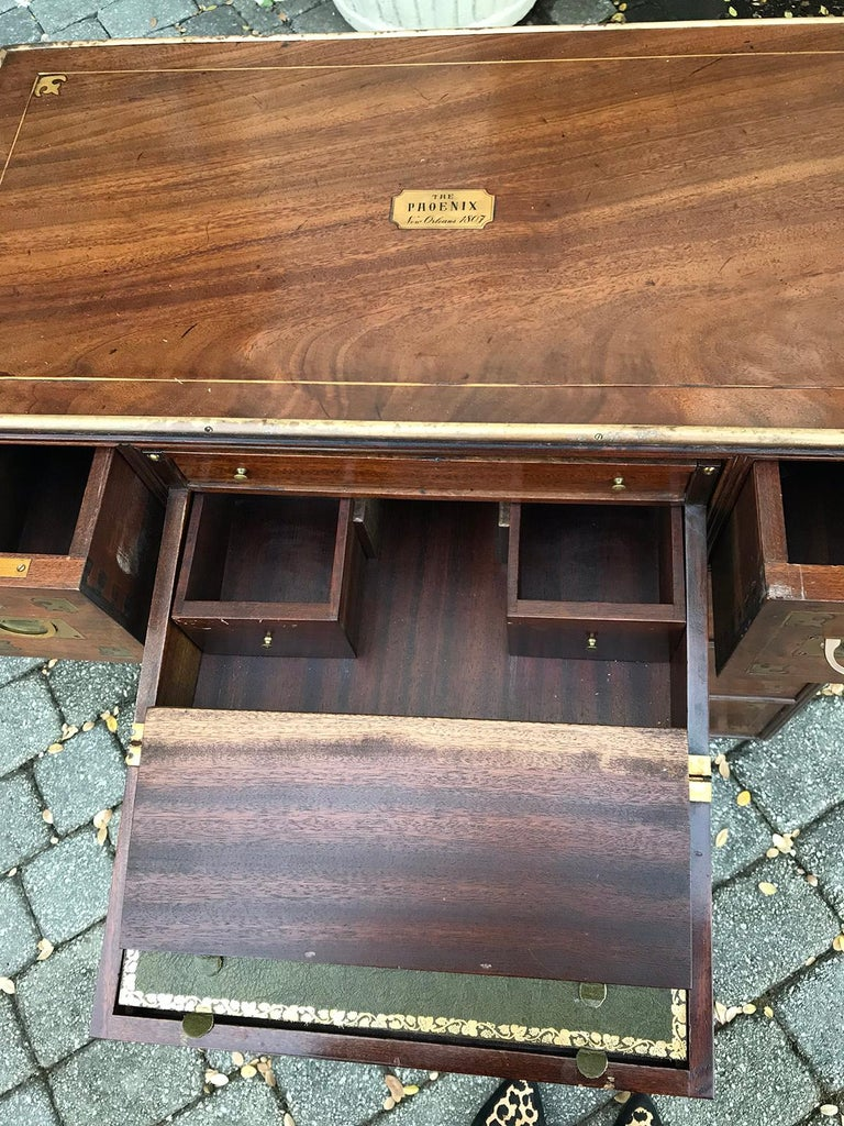 20th Century Mahogany Campaign Style Secretary Chest with Brass Inlay and Mounts For Sale 9
