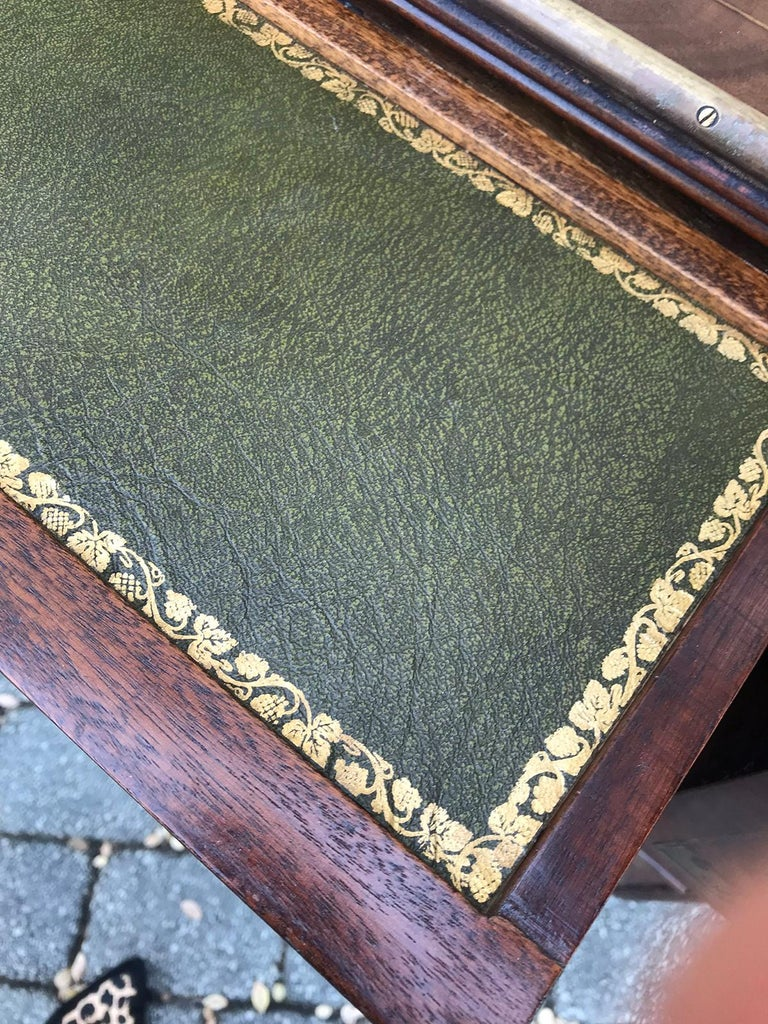 20th Century Mahogany Campaign Style Secretary Chest with Brass Inlay and Mounts For Sale 10