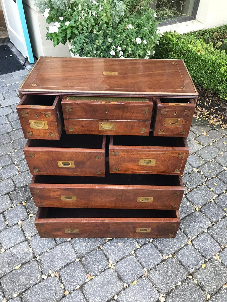 20th Century Mahogany Campaign Style Secretary Chest with Brass Inlay and Mounts For Sale 11