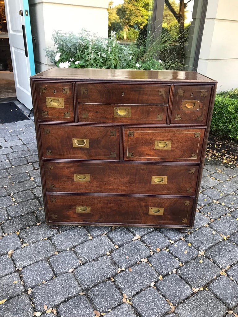 20th Century Mahogany Campaign Style Secretary Chest with Brass Inlay and Mounts For Sale 14