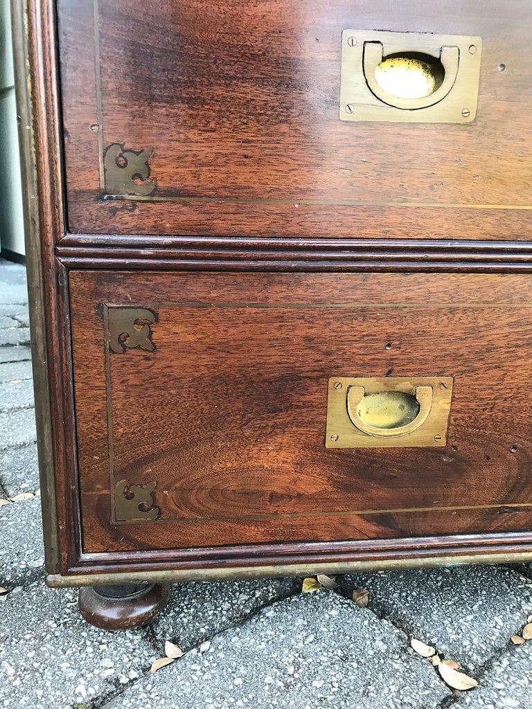 20th Century Mahogany Campaign Style Secretary Chest with Brass Inlay and Mounts For Sale 16
