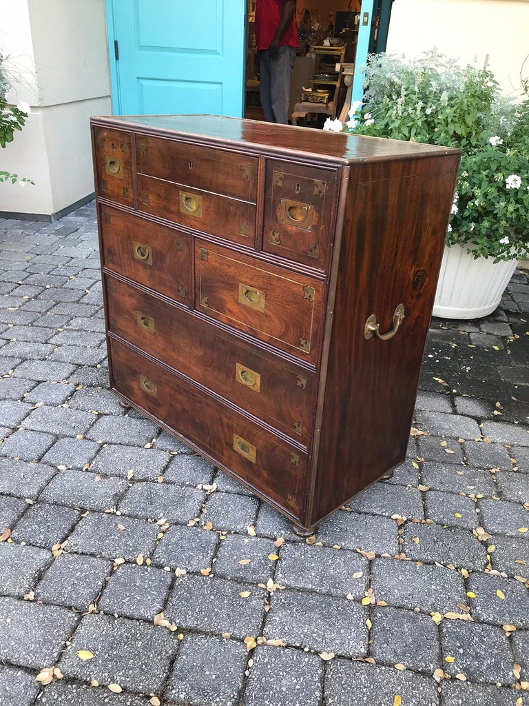 20th Century Mahogany Campaign Style Secretary Chest with Brass Inlay and Mounts In Good Condition For Sale In Atlanta, GA