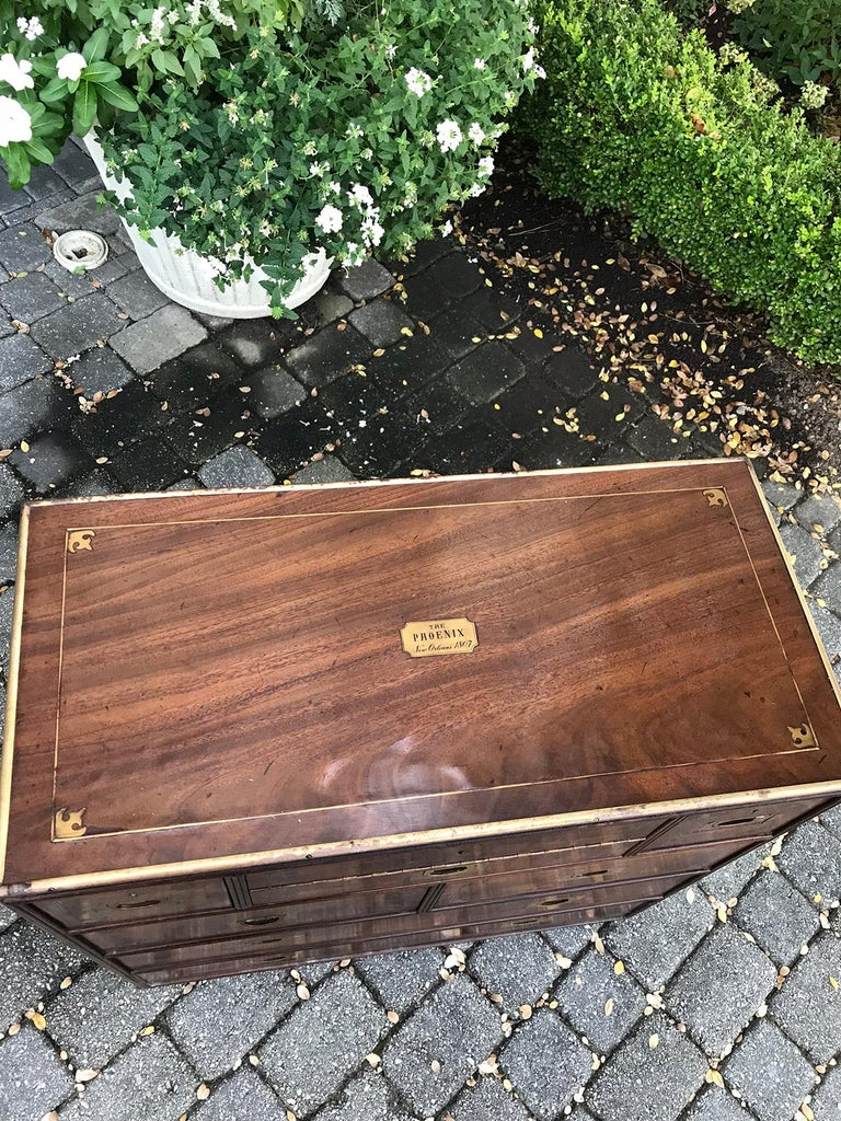 20th Century Mahogany Campaign Style Secretary Chest with Brass Inlay and Mounts For Sale 1