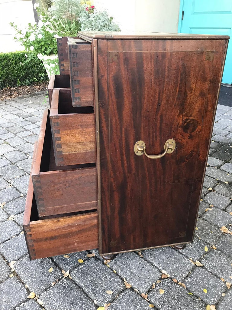 20th Century Mahogany Campaign Style Secretary Chest with Brass Inlay and Mounts For Sale 4