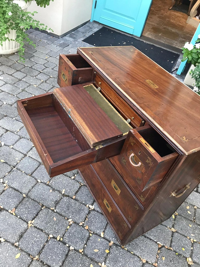 20th Century Mahogany Campaign Style Secretary Chest with Brass Inlay and Mounts For Sale 5