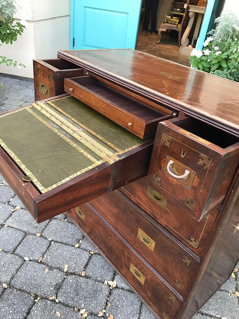 20th Century Mahogany Campaign Style Secretary Chest with Brass Inlay and Mounts For Sale 6