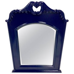 20th Century Mahogany Lacquered Federal Blue Cartouche Acanthus Hanging Mirror