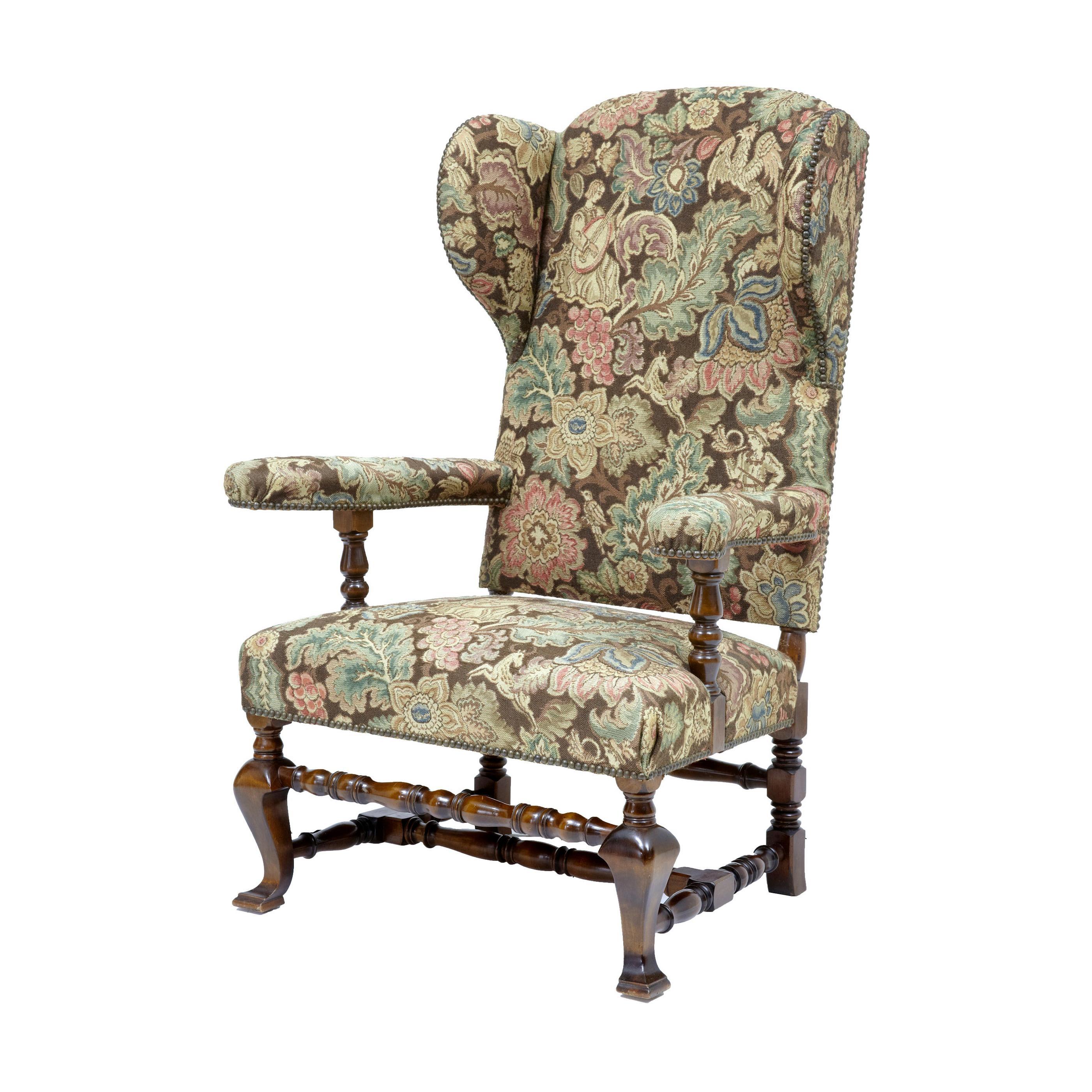 20th Century Mahogany Wingback Armchair
