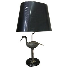 20th Century Maison Charles Gilted Brass Heron Table Lamp, 1960s