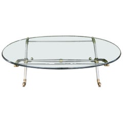 20th Century Maison Jansen Steel and Brass Coffee Table Base with Oval Glass Top