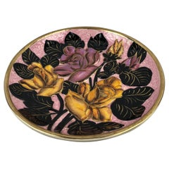 20th Century Majolica Floral Platter from Vallauris