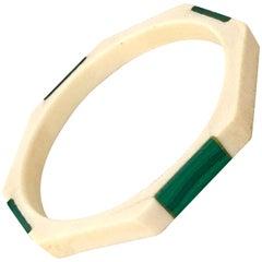 20th Century Malachite & Bone Geometric Bangle Bracelet