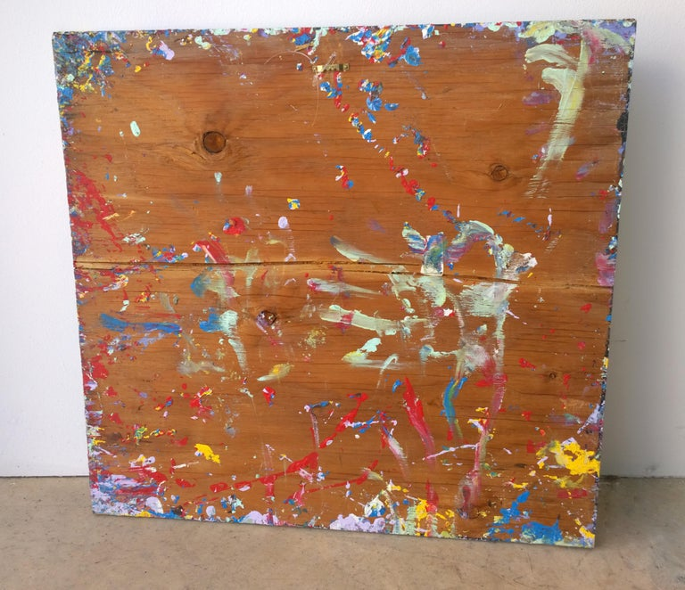 Pollock Style Yellow, Red, Blue & Black Splatter Abstract Oil Painting on Wood For Sale 12