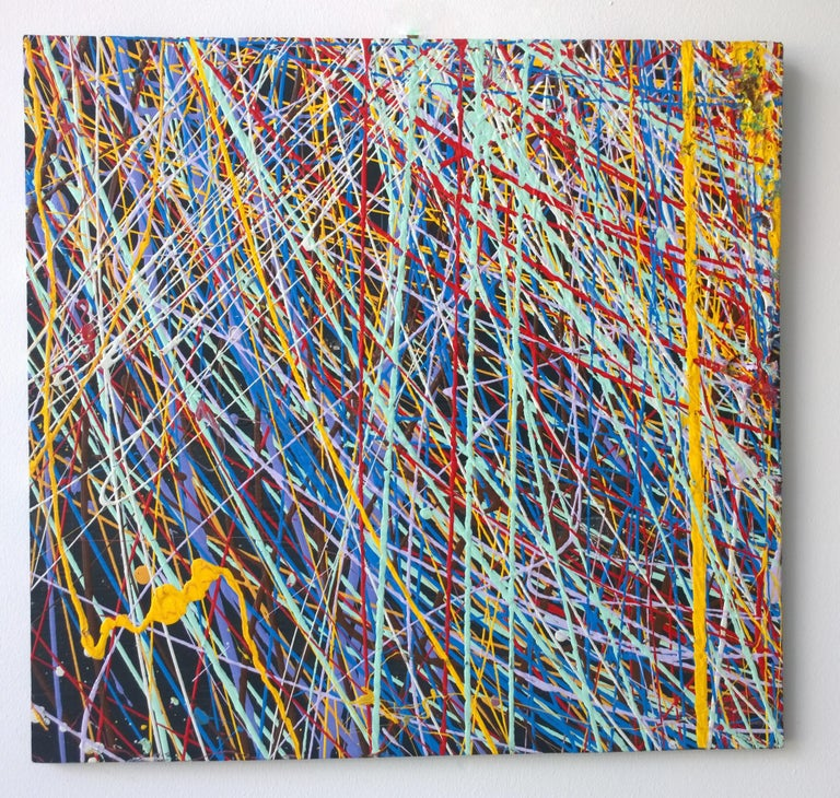 Mid-Century Modern Pollock Style Yellow, Red, Blue & Black Splatter Abstract Oil Painting on Wood For Sale