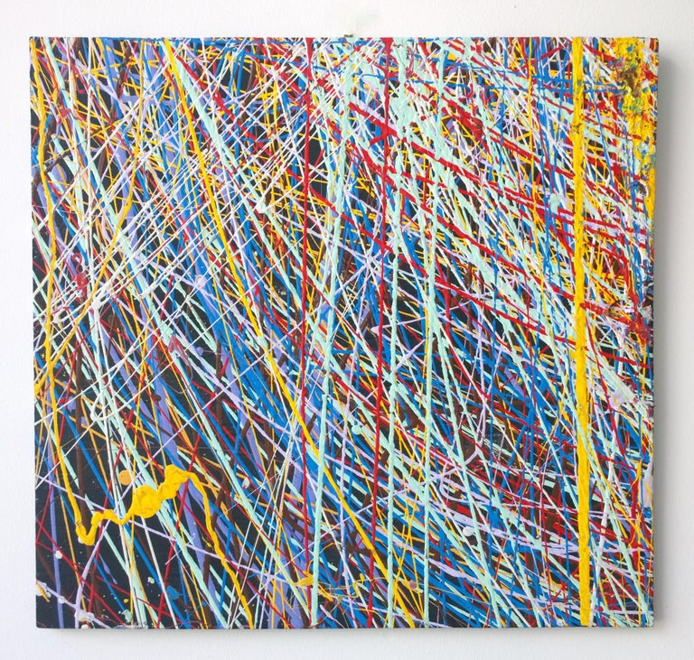 American Pollock Style Yellow, Red, Blue & Black Splatter Abstract Oil Painting on Wood For Sale