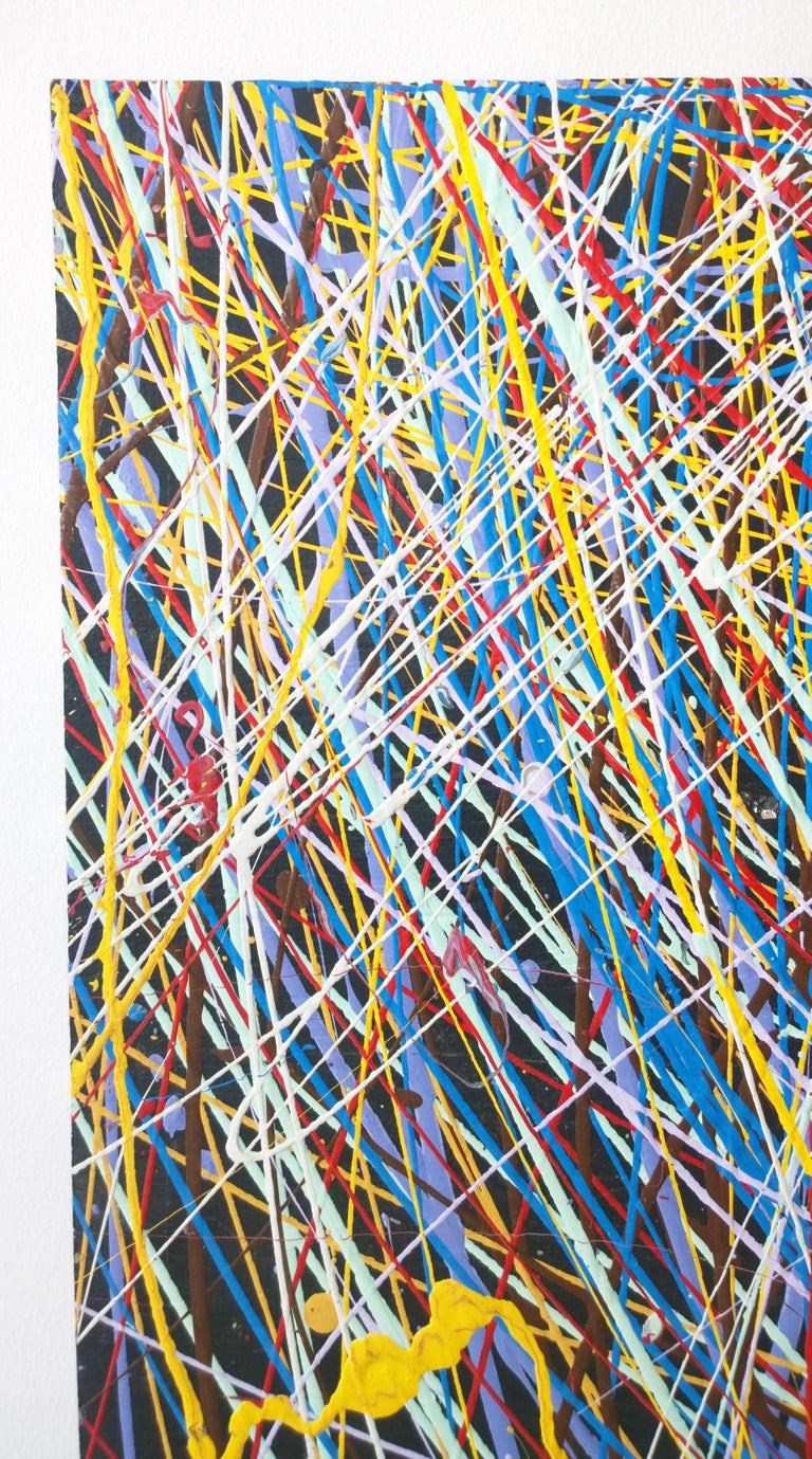 Pollock Style Yellow, Red, Blue & Black Splatter Abstract Oil Painting on Wood In Good Condition For Sale In Houston, TX