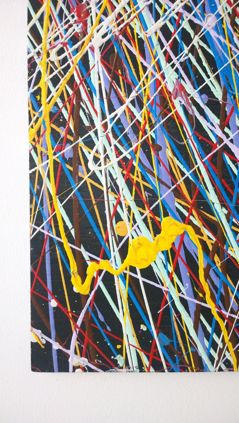 20th Century Pollock Style Yellow, Red, Blue & Black Splatter Abstract Oil Painting on Wood For Sale