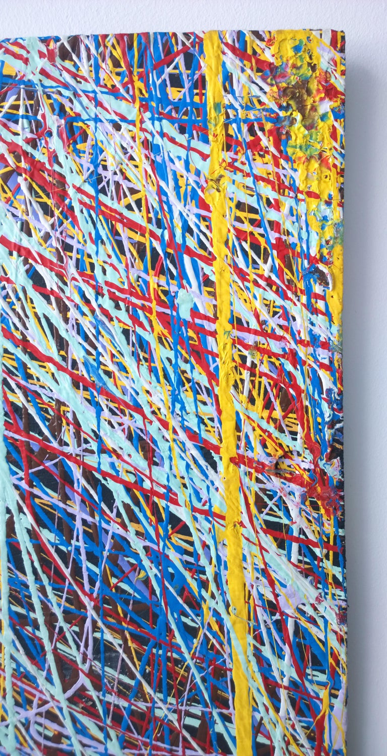 Pollock Style Yellow, Red, Blue & Black Splatter Abstract Oil Painting on Wood For Sale 2