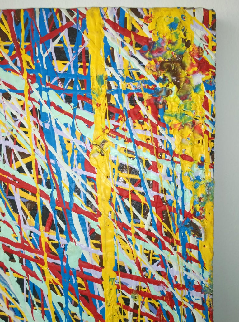 Pollock Style Yellow, Red, Blue & Black Splatter Abstract Oil Painting on Wood For Sale 3