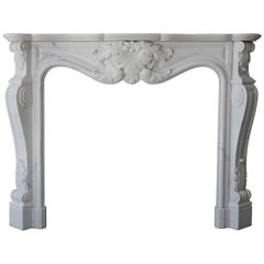 20th Century Mantel of Carrara Marble in Style of Louis XV