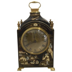 20th Century Mappin & Webb Black Chinoiserie Clock