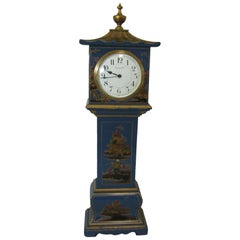 20th Century Mappin & Webb Blue Chinoiserie Miniature Longcase Clock