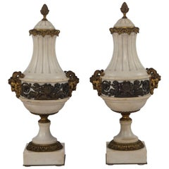 20th Century Marble and Bronze Cassolettes