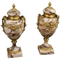20. Jahrhundert Marmor, Vergoldeter Bronze und Messing Französische paar Vasen, 1950