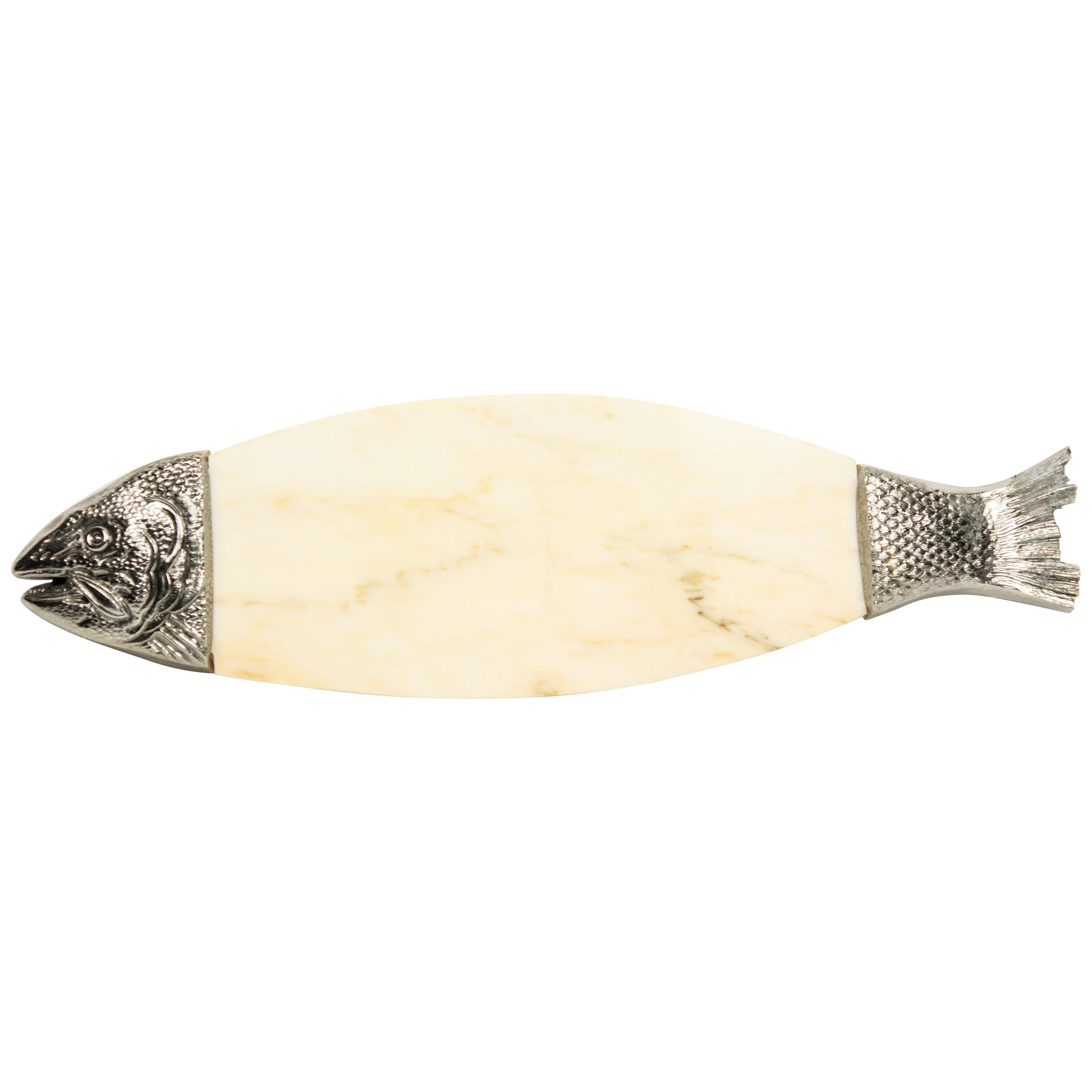 20th Century Marble Pewter Fish Salmon Serving Cutting Board Platter Tray