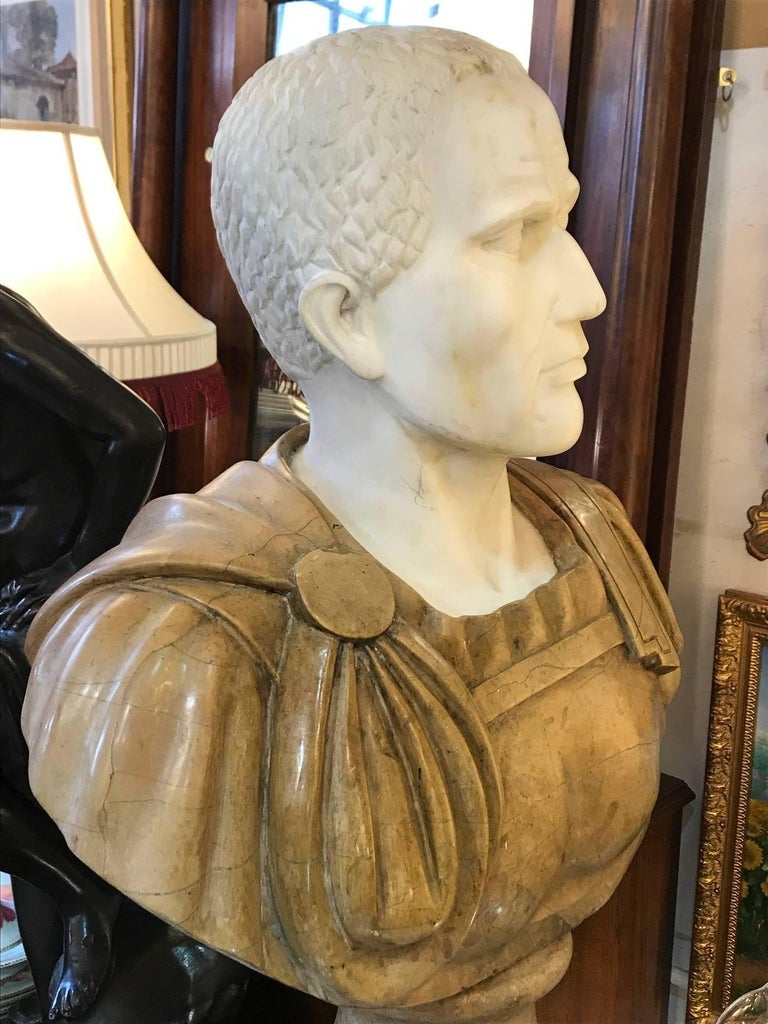 Italian 20th Century Marble Roman Bust For Sale