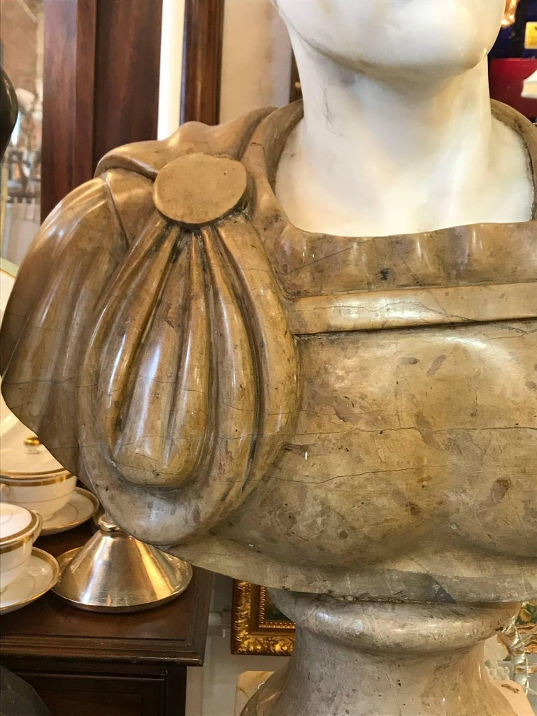 Carved 20th Century Marble Roman Bust For Sale