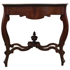 20th Century Marble Top Walnut Console Table with Drawer