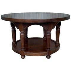 20th Century Mariano Garcia Spanish Two Tier Round Walnut Side Table