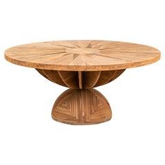 """20th Century Mario Ceroli """"Rosa Dei Venti"""" Table in Inlaid Wood for Poltronova"""