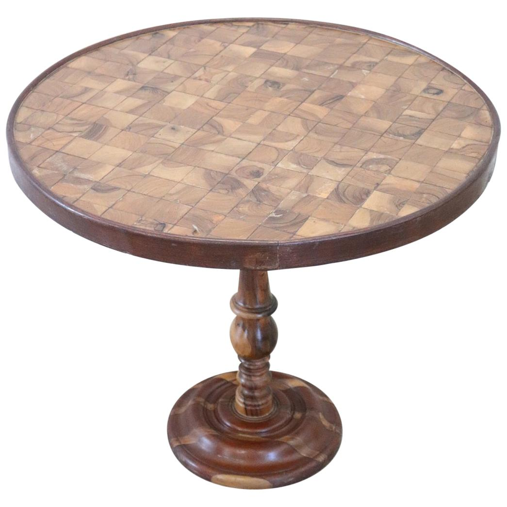 20th Century Marquetry Wood Round Side Table or Sofa Table