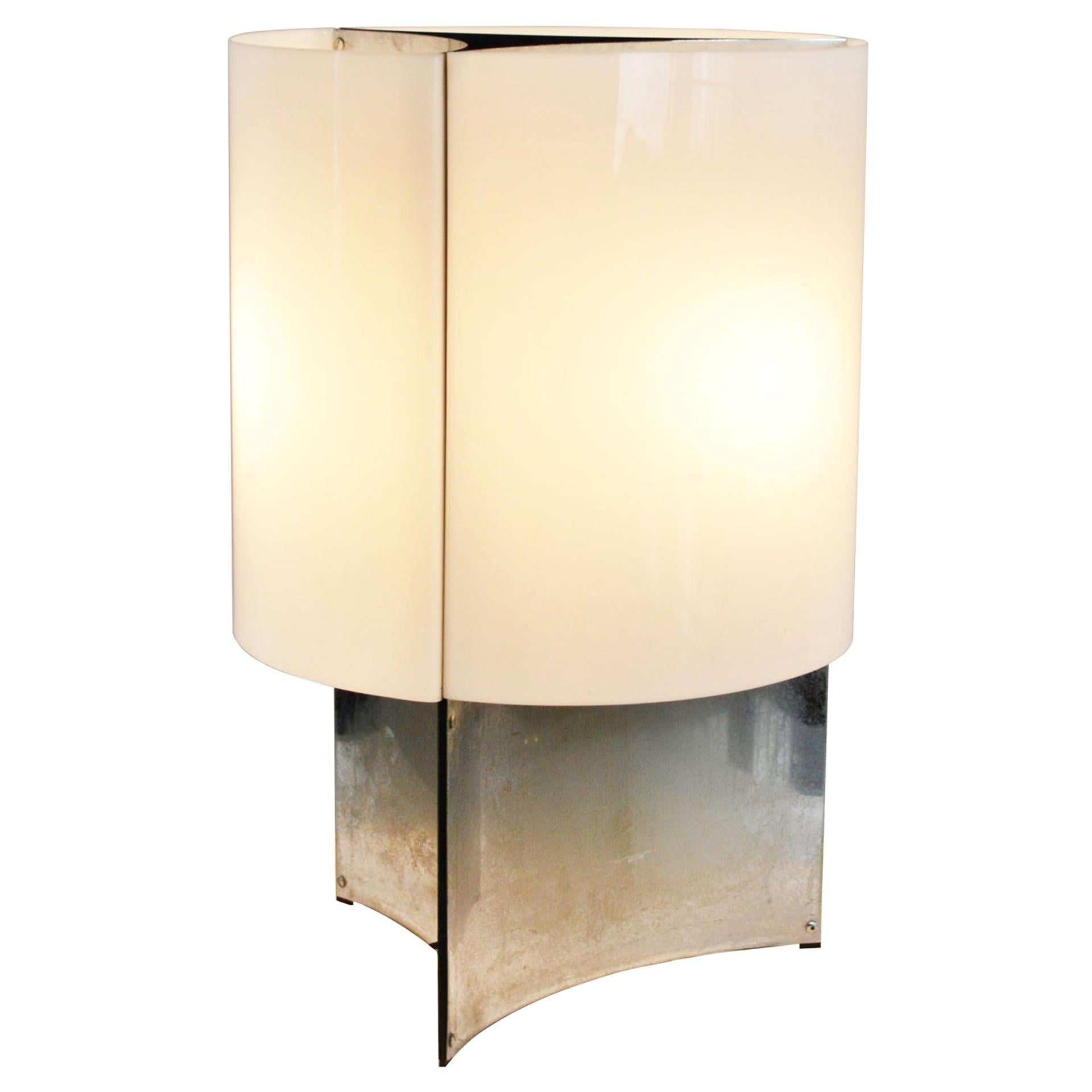 20th Century Massimo Vignelli Table Lamp 526 G for Arteluce in Metal and Perspex