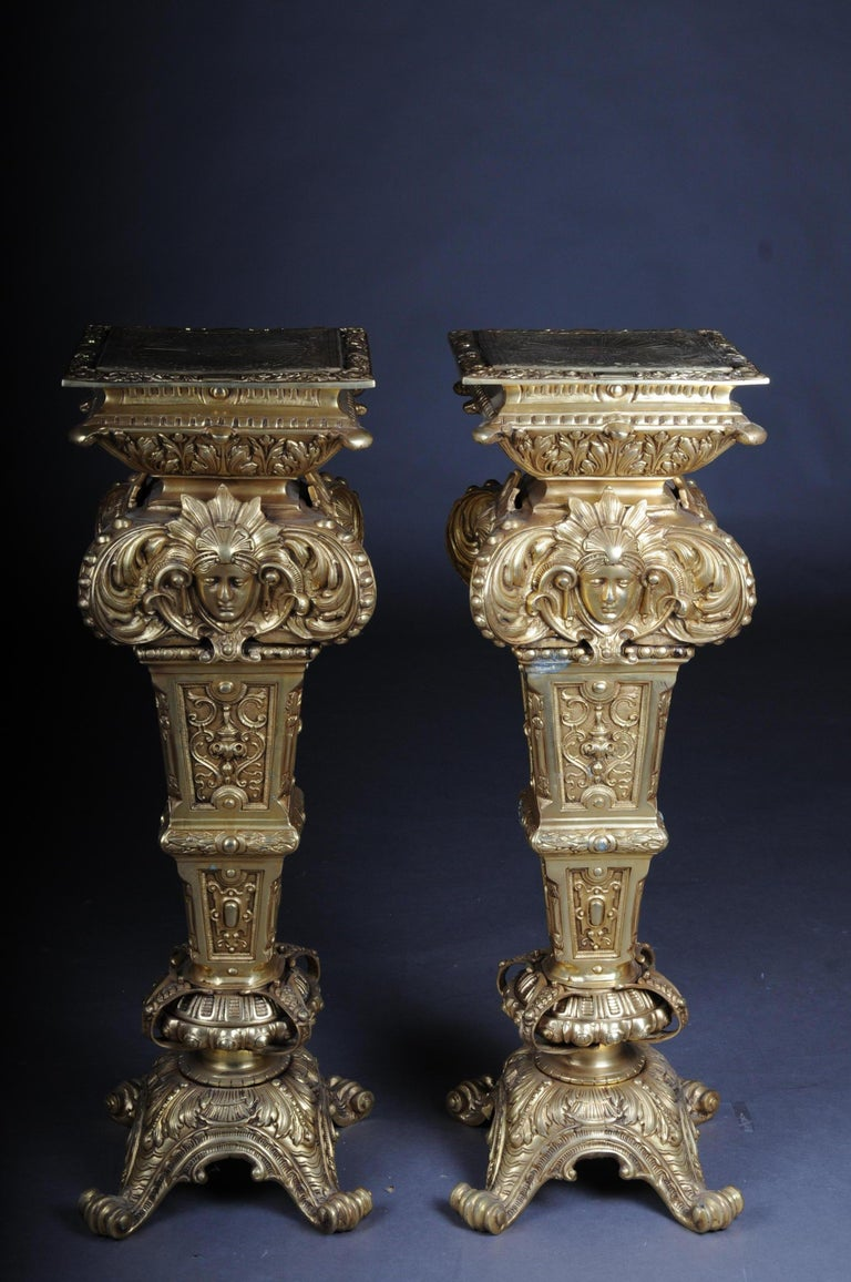 20th Century Massive Finely Engraved Bronze Pillar or Column, Gold For Sale 12