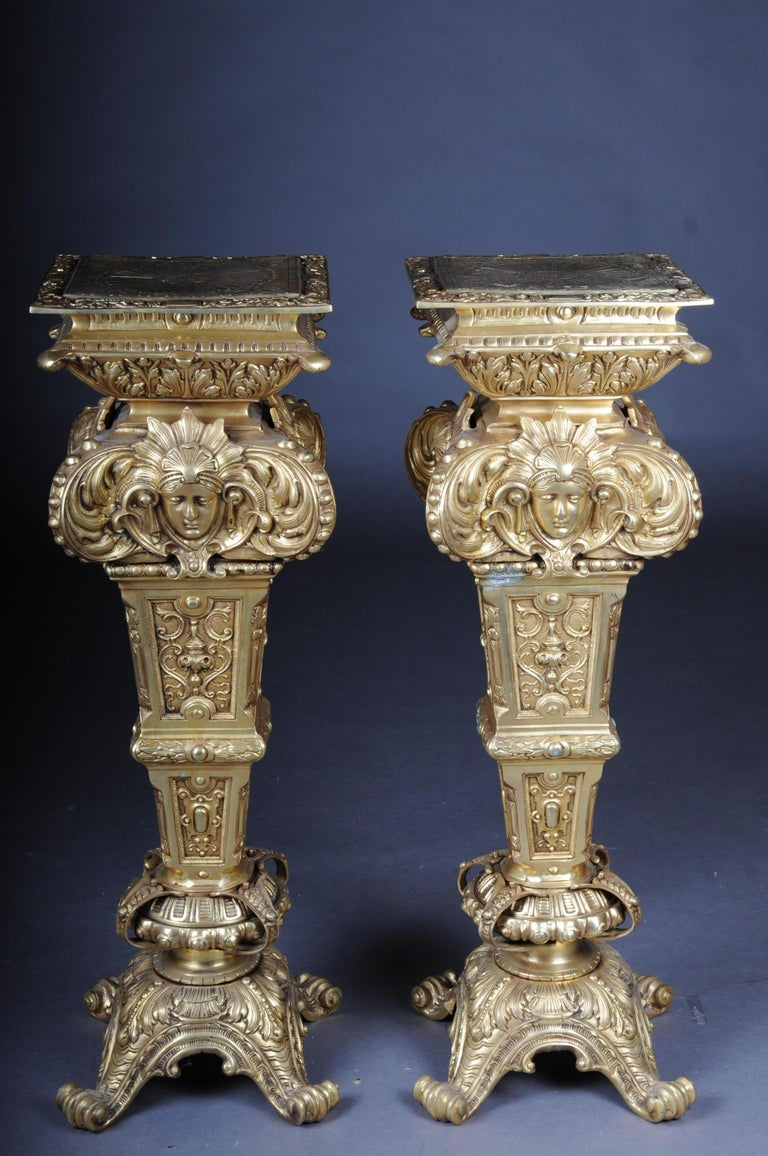 20th Century Massive Finely Engraved Bronze Pillar or Column, Gold For Sale 13