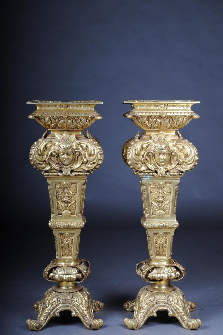 20th Century Massive Finely Engraved Bronze Pillar or Column, Gold For Sale 14