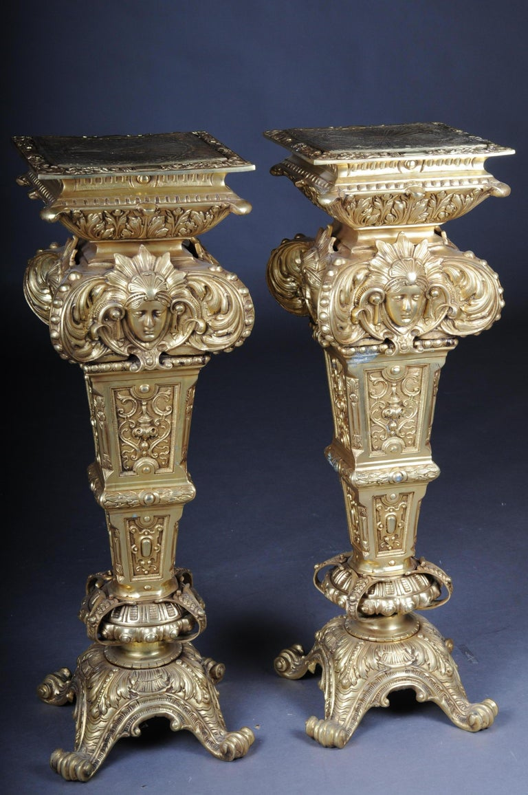 20th Century Massive Finely Engraved Bronze Pillar or Column, Gold For Sale 15