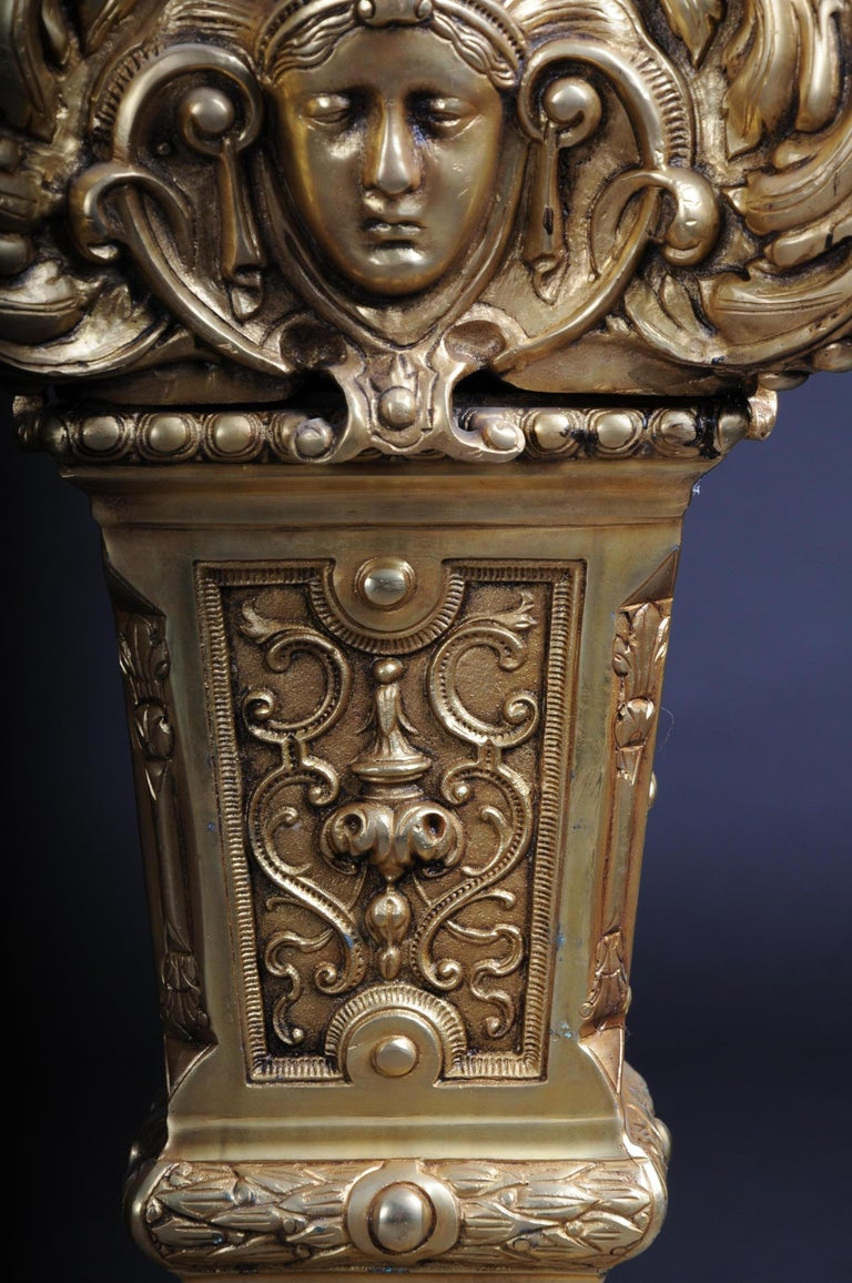 20th Century Massive Finely Engraved Bronze Pillar or Column, Gold For Sale 2