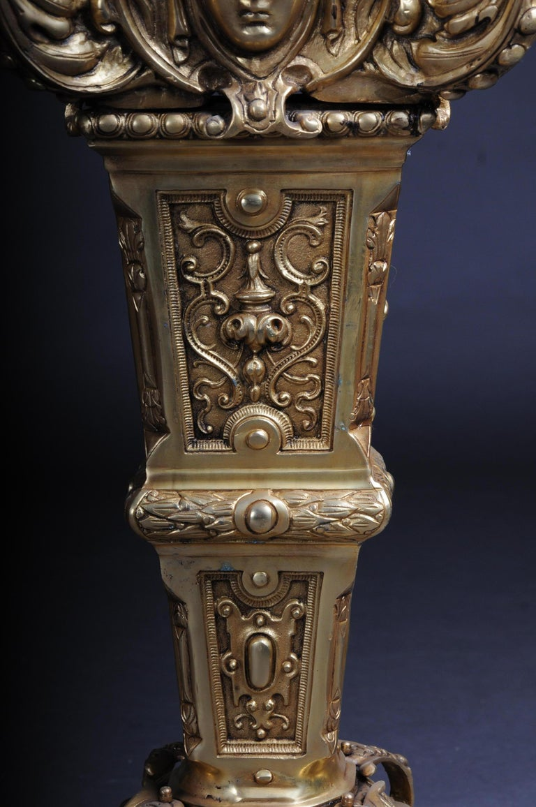 20th Century Massive Finely Engraved Bronze Pillar or Column, Gold For Sale 4