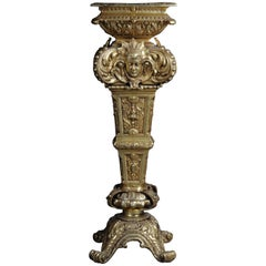 20th Century Massive Finely Engraved Bronze Pillar or Column, Gold