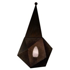 20th Century Mathieu Matégot Table Lamp Model Baghdad in Perforated Steel