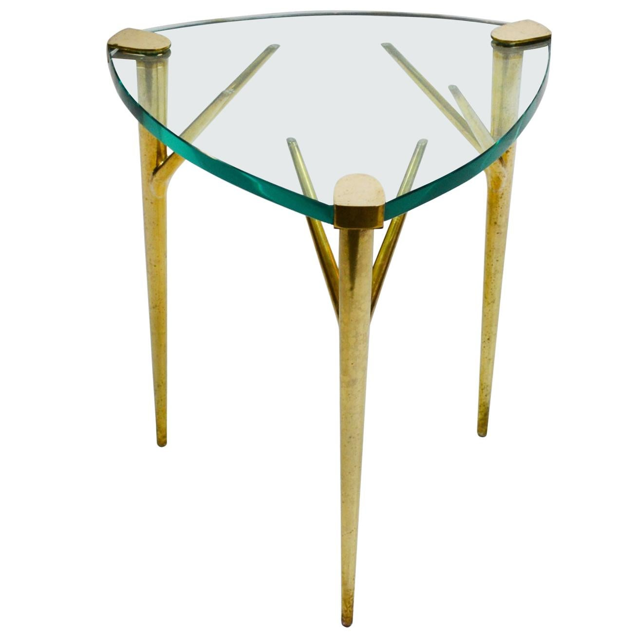 20th Century Max Ingrand Coffee Table for Fontana Arte Brass and Ground Glass