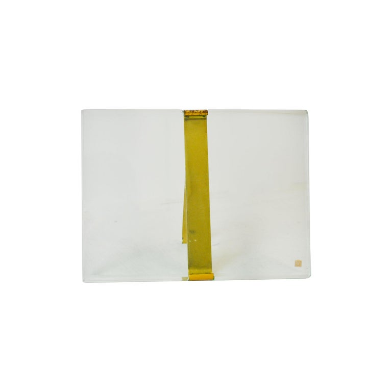 Picture frame model n. 1371 designed by Max Ingrand for Fontana Arte in 1960s. The picture frame is in glass and brass, with patina of time especially on the brass detail. The picture frame itself measures: 24 x 18 cm. Presence of brand logo Fontana