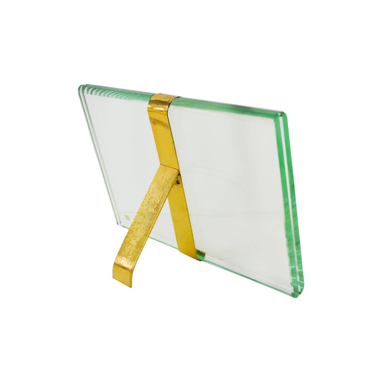 Mid-Century Modern 20th Century Max Ingrand Picture Frame for Fontana Arte Mod 1371 Glass and Brass For Sale