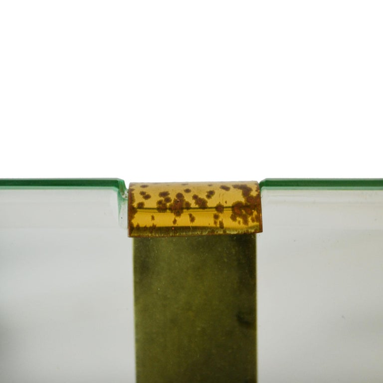 20th Century Max Ingrand Picture Frame for Fontana Arte Mod 1371 Glass and Brass In Good Condition For Sale In Turin, IT